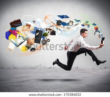Concept of business creativity with running businessman and tablet - stock photo