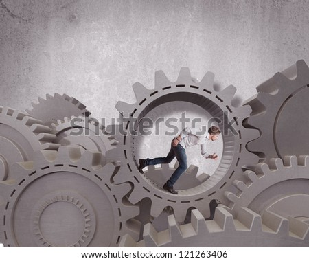 Concept of business mechanism system - stock photo
