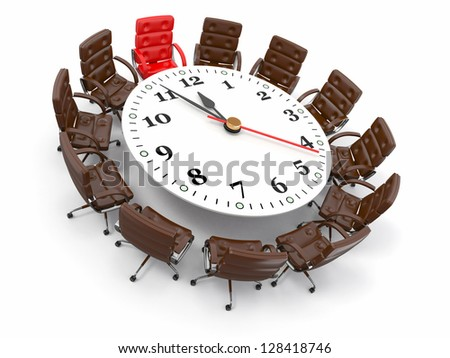 Concept of business meeting or brainstorming. Circle table as clock and armchairs. 3d - stock photo