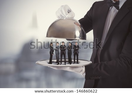 Concept of business service and First Class team - stock photo