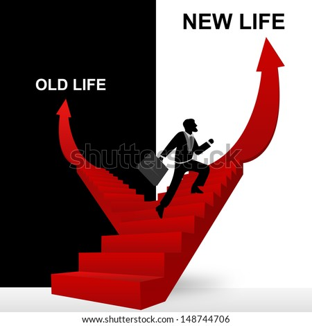 Concept of Business Solution Present By New Life and Old Life Stairway With The Businessman Step Up to Top of The Arrow in Black and White Background - stock photo