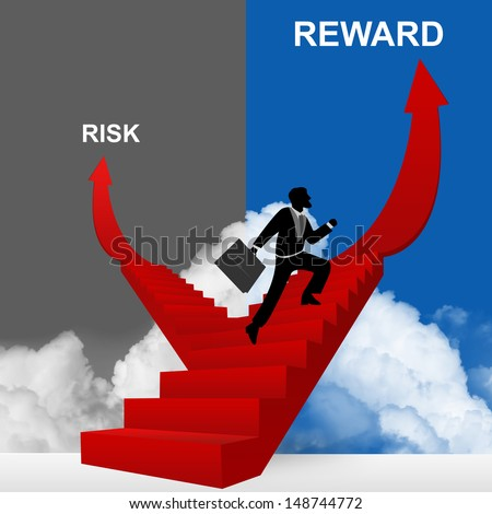 Concept of Business Solution Present By Reward and Risk Stairway With The Businessman Step Up to Top of The Arrow in Blue and Gray Sky Background - stock photo