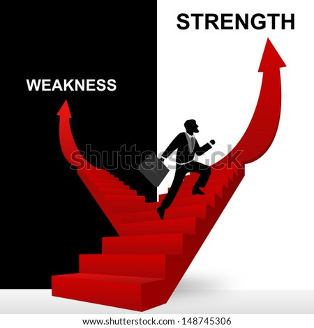 Concept of Business Solution Present By Strength and Weakness Stairway With The Businessman Step Up to Top of The Arrow in Black and White Background - stock photo