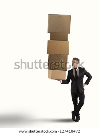Concept of businessman and easy business - stock photo