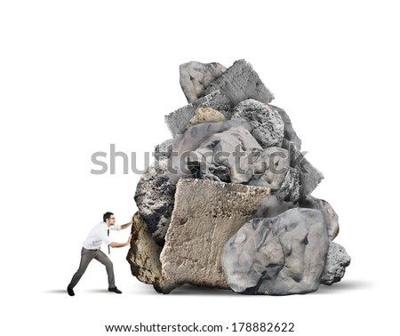 Concept of businessman blocked by the tax and crisis - stock photo
