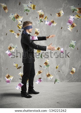 Concept of businessman does not see the business - stock photo