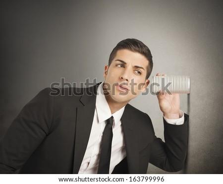 Concept of businessman spy secrets on business - stock photo