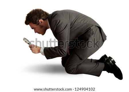 Concept of businessman that search business with lens - stock photo