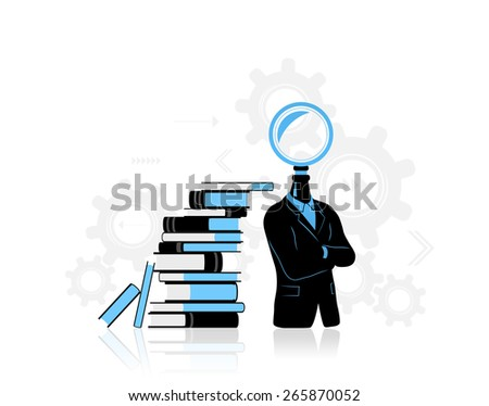 Concept of businessman thinking / searching for idea. - stock photo