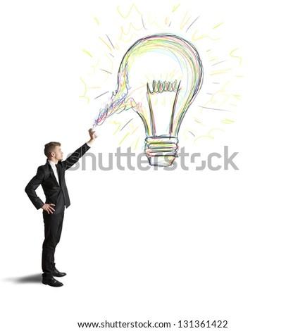 Concept of businessman with a creative big idea - stock photo