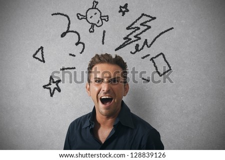 Concept of businessman with angry expression - stock photo