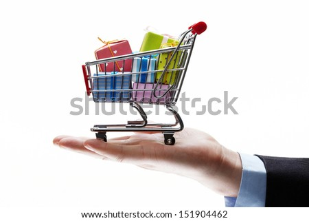 concept of buy shopping cart - stock photo