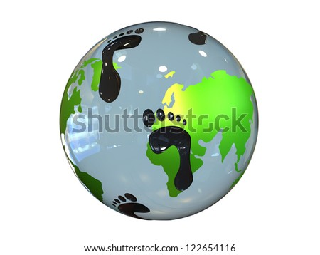 Concept of Carbon Earth Footprint isolated on a white background - stock photo