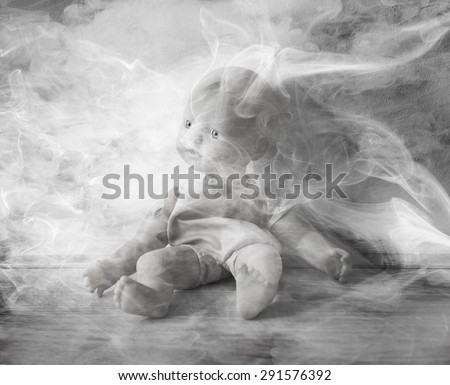Concept of child abuse - Smoking in the vicinity of children - stock photo