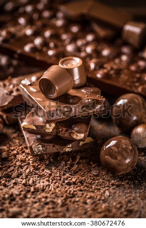 Concept of chocolates and pralines