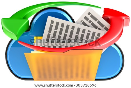 concept of cloud computing and circulation digital documents as is blue glossy cloud icon with folder and documents on white background - stock photo