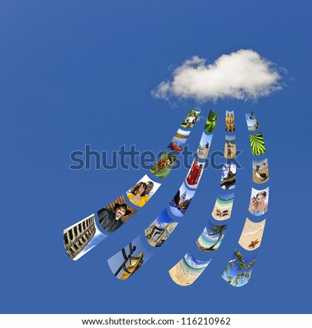 Concept of cloud services for storing and sharing photos - stock photo