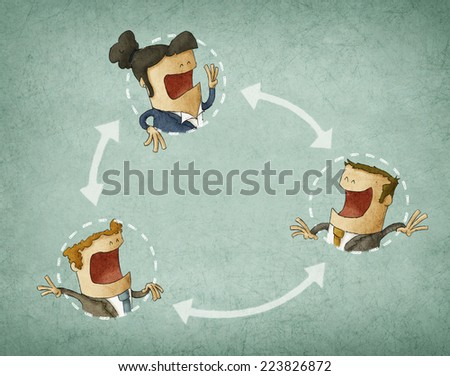 concept of collaboration, illustration with group of colleagues interacting - stock photo