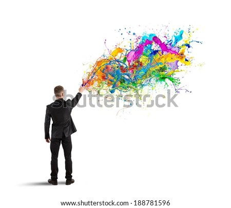 Concept of colorful and creative business with spray color - stock photo