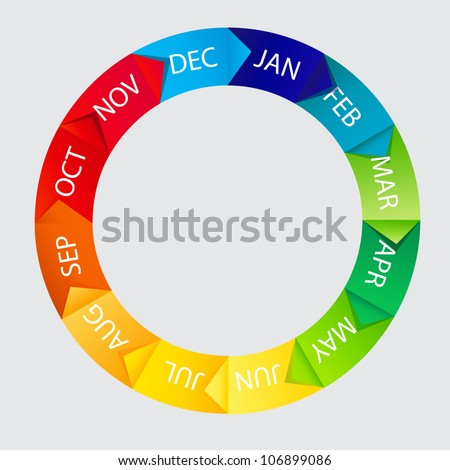 Concept of colorful Time Wheel  illustration Raster version - stock photo