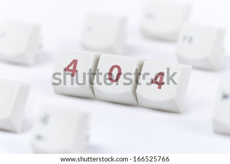 Concept of computer keyboard button with 404 web page error message sign on white background. - stock photo