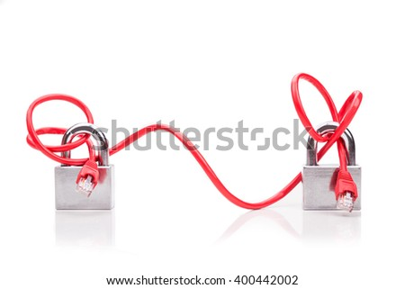 Concept of computer network security with end to end padlock over network cable on white background - stock photo