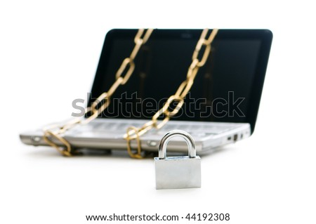 Concept of computer security with laptop and chain - stock photo