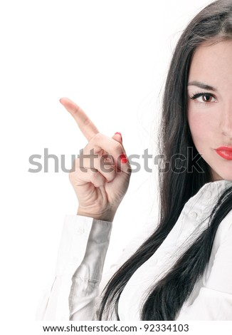 Concept of confident woman showing details in business - stock photo