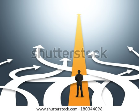 Concept of confused business with different directions - stock photo