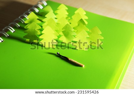 Concept of conservation forests cut paper - stock photo