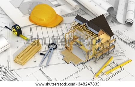 Concept construction architect design 3d render stock for Home design 3d professional italiano gratis