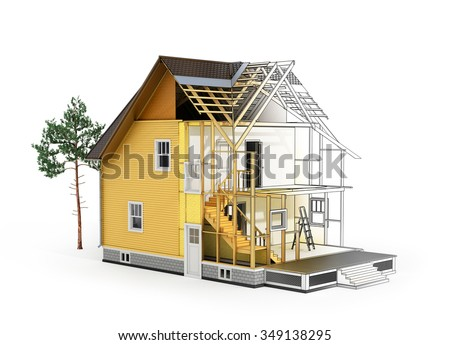 Concept construction architect design 3 d render stock for Process of building a new house