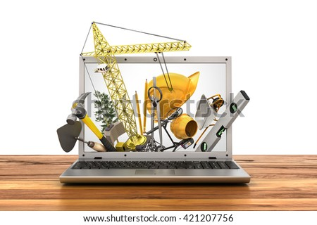 Concept of construction. Building tools in laptop screen. 3d illustration - stock photo
