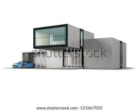 Concept Contemporary House Garage Modern Building Stock Illustration ...