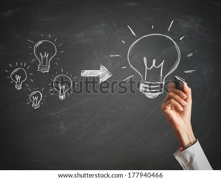 Concept of creation of a big idea - stock photo