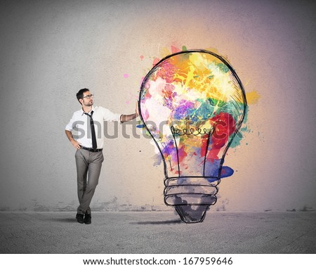 Concept of Creative business idea with colorful lightbulb - stock photo