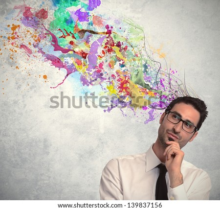 Concept of creative idea of a businessman - stock photo