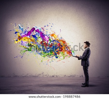 Concept of creative technology with colorful effect - stock photo