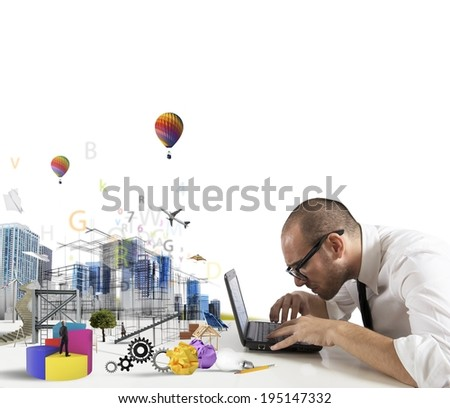 Concept of creativity of an architect with building draft - stock photo