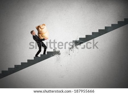 Concept of crisis and failure with interrupted stairs - stock photo