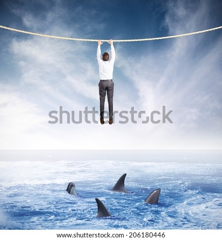 Concept of crisis and risk in business - stock photo