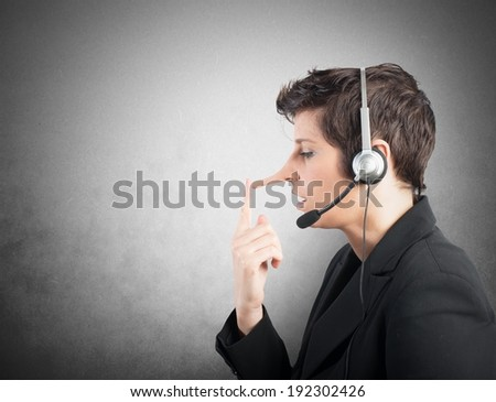Concept of Customer Support liar with long nose - stock photo