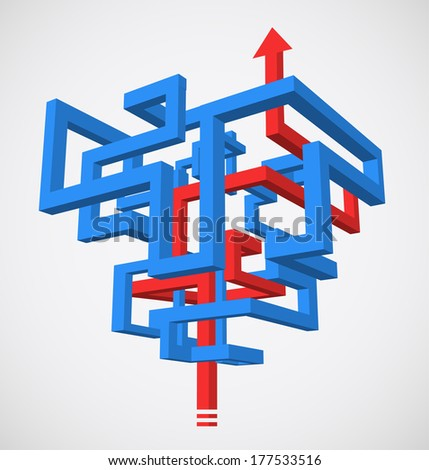 Concept of 3D maze with successfull strategy - stock photo