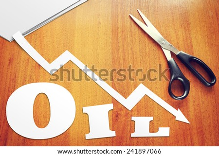 Concept of decline in oil prices - stock photo