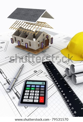 Concept of designing, calculating budget and building a house project