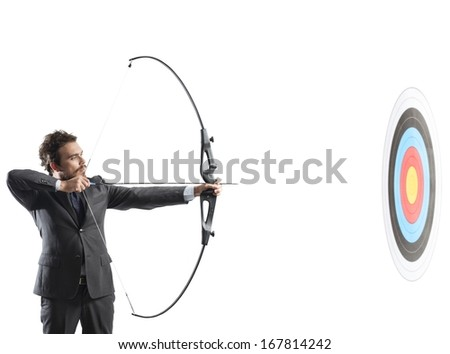 Concept of determination in business with bow and arrow - stock photo