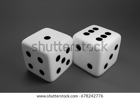 Concept of dice game. 3D render