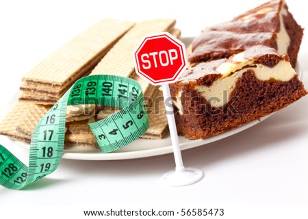 concept of diet , stop of sweet food - stock photo
