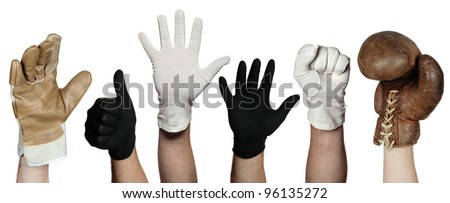 concept of different gloves - stock photo