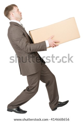 Concept of difficult career of businessman, isolated on white - stock photo